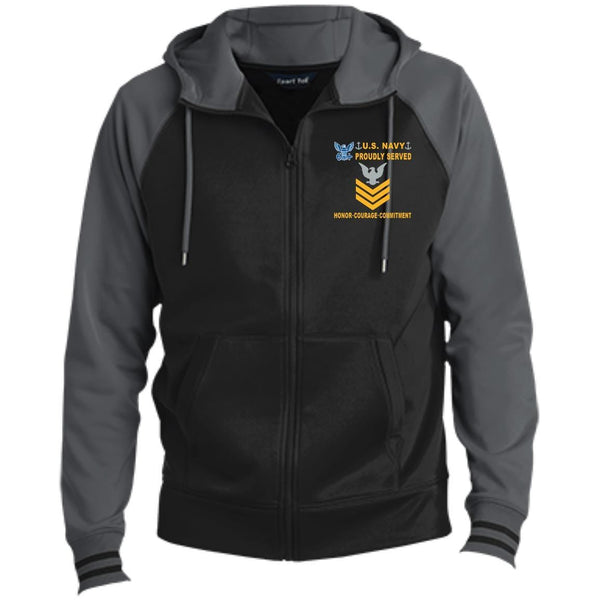US Navy E-6 Petty Officer First Class E6 PO1 Gold Stripe Collar Device Proudly Served-D04 Embroidered Sport-Tek® Full-Zip Hooded Jacket