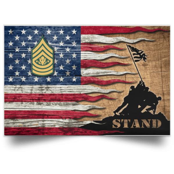 US Army E-9 Sergeant Major of the Army E9 SMA Noncommissioned Officer Stand For The Flag Satin Landscape Poster