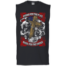 Stand For the Flag Kneel For The Cross Men Front T Shirts