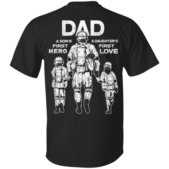 3b9815cc Buy Dad A Son's First Hero Daughter's First Love Men Back T Shirts ...