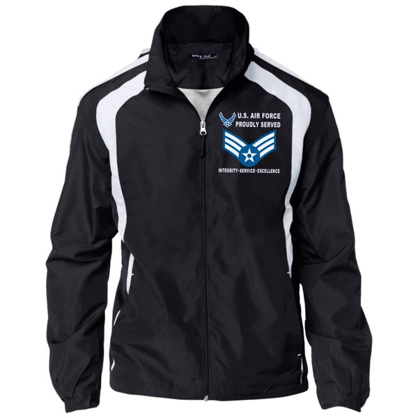 US Air Force E-4 Senior Airman SrA E4 Enlisted Airman Proudly Served-D04 Embroidered Sport-Tek Jersey-Lined Jacket