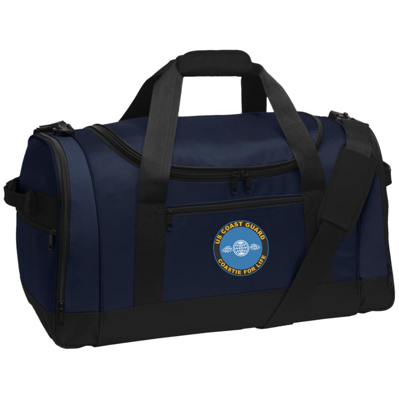 US Coast Guard Aviation Electricians Mate AE Logo Coastie For Life Embroidered Duffel Bag