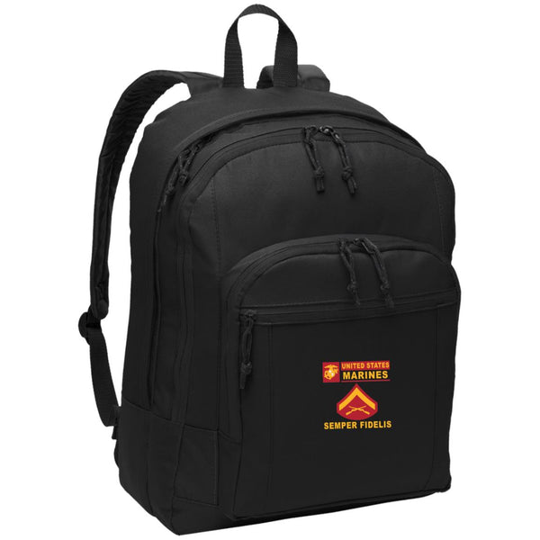 USMC E-3 Lance Corporal E3 LCpl Junior Enlisted- Semper Fidelis Embroidered Backpack