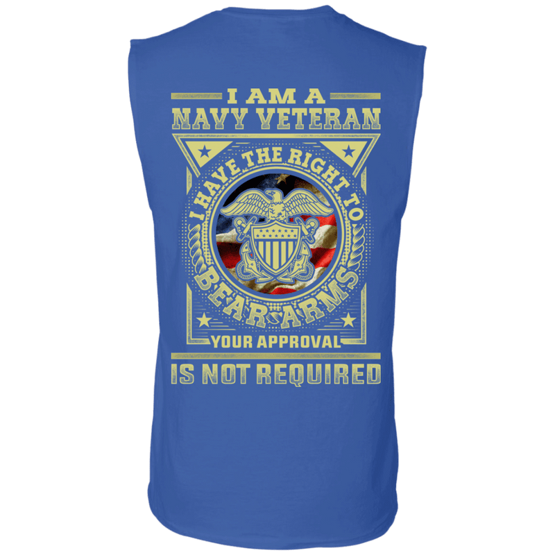 Navy Veteran Have the Right To Bear Arms Men Back T Shirts