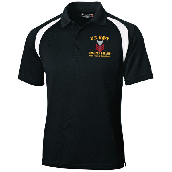 US Navy E-6 Petty Officer First Class E6 PO1 Collar Device Embroidered Sport-Tek Moisture-Wicking Tag-Free Golf Shirt