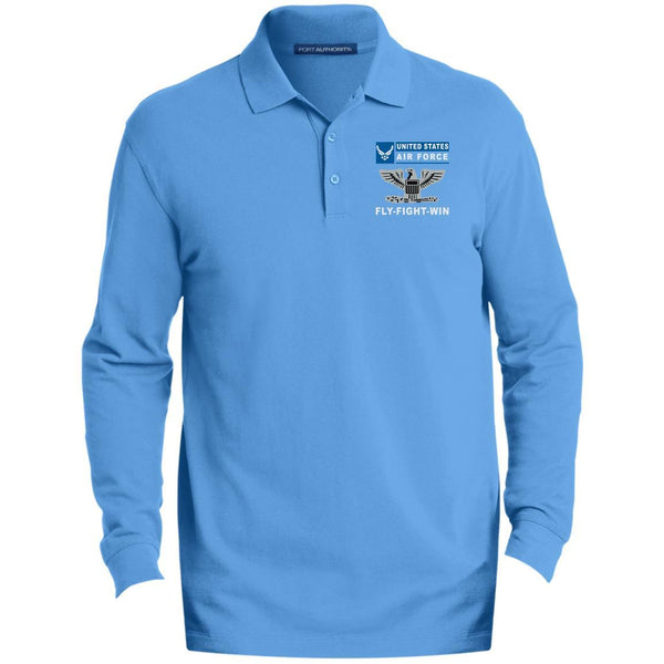 US Air Force O-6 Colonel Col O6 Field Officer- Fly Flight Win Embroidered Port Authority® LS Polo