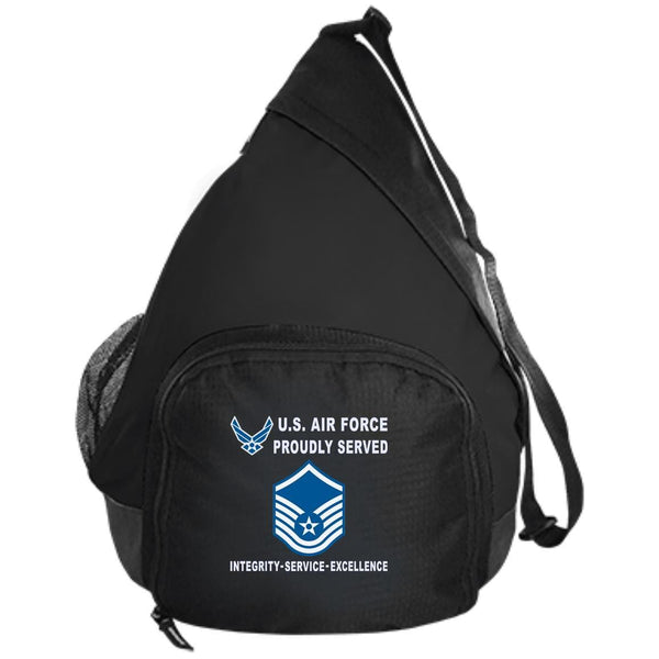 US Air Force E-7 Master Sergeant MSgt E7 Noncommissioned Officer Proudly Served-D04 Embroidered Active Sling Pack