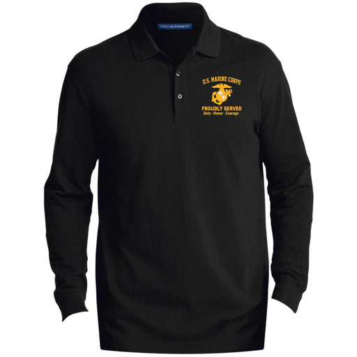 4d16b4373f US Marine Corps Logo Proudly Served Embroidered LS Polo Shirt - Colorblock  1 2 Zip