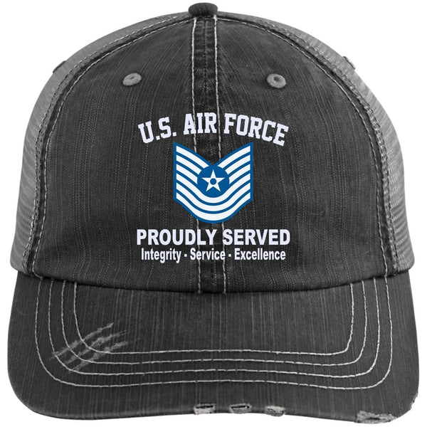 US Air Force E-7 Master Sergeant MSgt E7 Old Style Core Values Embroidered Distressed Unstructured Trucker Cap