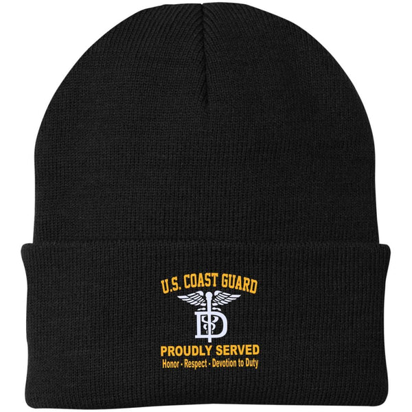 US Coast Guard Dental Technician DT Logo Embroidered Port Authority Knit Cap