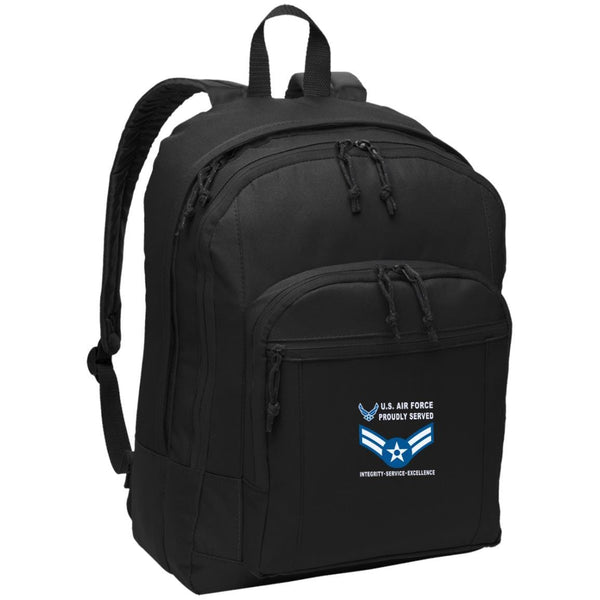 US Air Force E-3 Airman First Class A1C E3 Enlisted Airman Proudly Served-D04 Embroidered Backpack