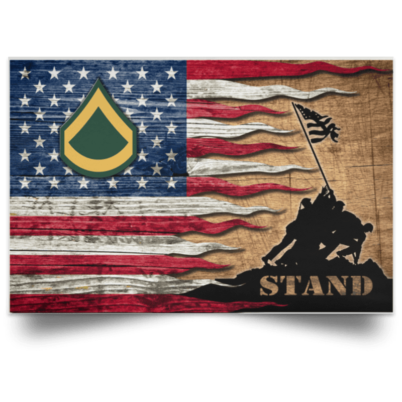 US Army E-3 Private First Class E3 PFC Enlisted Soldier Stand For The Flag Satin Landscape Poster