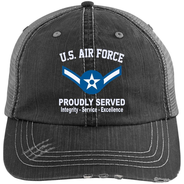 US Air Force E-2 Airman Amn E2 Enlisted Airman Core Values Embroidered Distressed Unstructured Trucker Cap