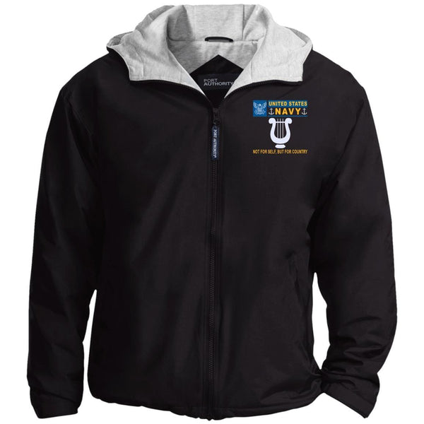 US Navy Musician MU- Not For Self, But For Country Embroidered - Fleece Lined Hooded  Team Jacket