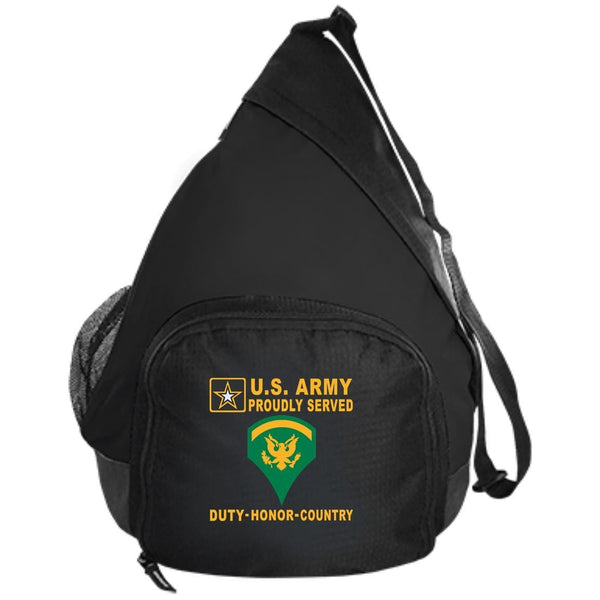 US Army E-5 SPC E5 SP5 Specialist 5 Specialist 2nd Class - Proudly Served-D04 Embroidered Active Sling Pack