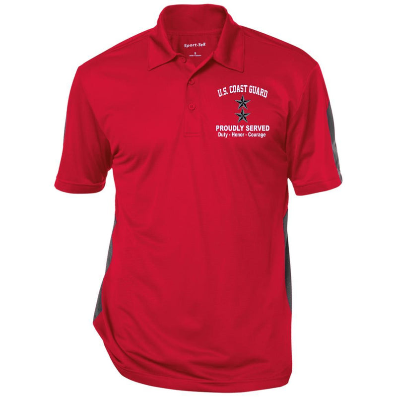 US Coast Guard O-8 Rear Admiral O8 RADM Flag Officer Proudly Served Embroidered Sport-Tek Performance Polo Shirt