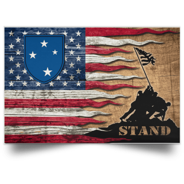 US ARMY 23rd Infantry Division Stand For The Flag Satin Landscape Poster