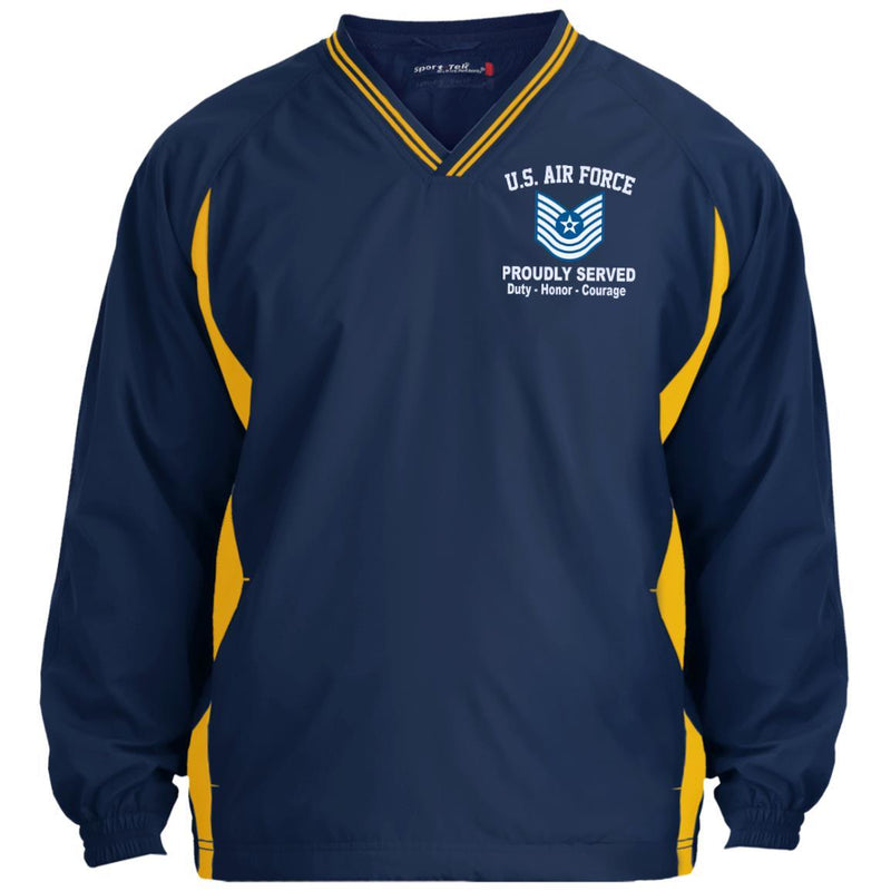 US Air Force E-7 Master Sergeant MSgt E7 Old Style Proudly Served Embroidered Sport-Tek Tipped V-Neck Windshirt