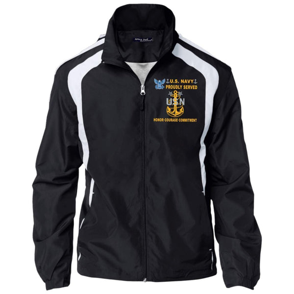 US Navy E-9 Master Chief Petty Officer E9 MCPO Senior Noncommissioned Officer Collar Device Proudly Served-D04 Embroidered Sport-Tek Jersey-Lined Jacket