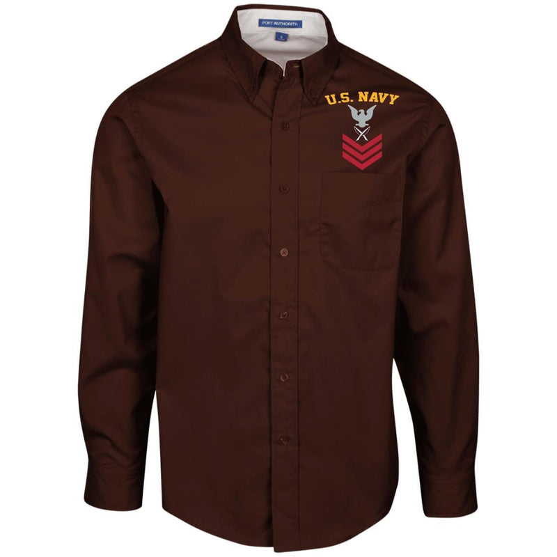 US Navy Yeoman YN E-6 Rating Badges Embroidered Port Authority Men's LS Dress Shirt