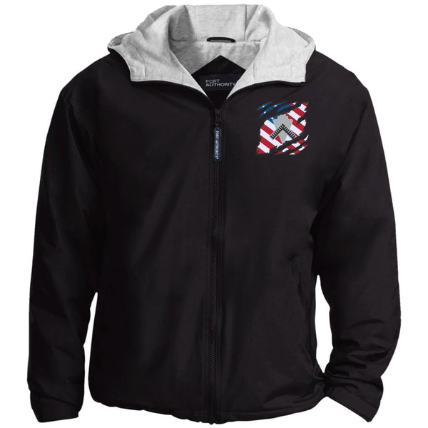 US Navy Builder BU And American Flag At Heart Embroidered Team Jacket
