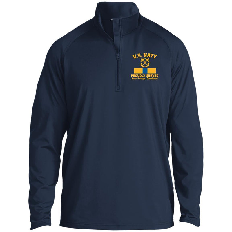 US Navy Boatswains Mate BM W-4 Rating Badges Embroidered Windshirt - 1/2 Zip