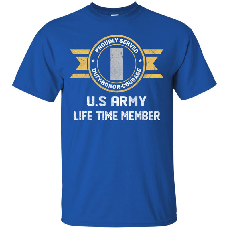Life Time Member - US Army O-2 First Lieutenant O2 1LT Commissioned Officer Ranks Men T Shirt On Front