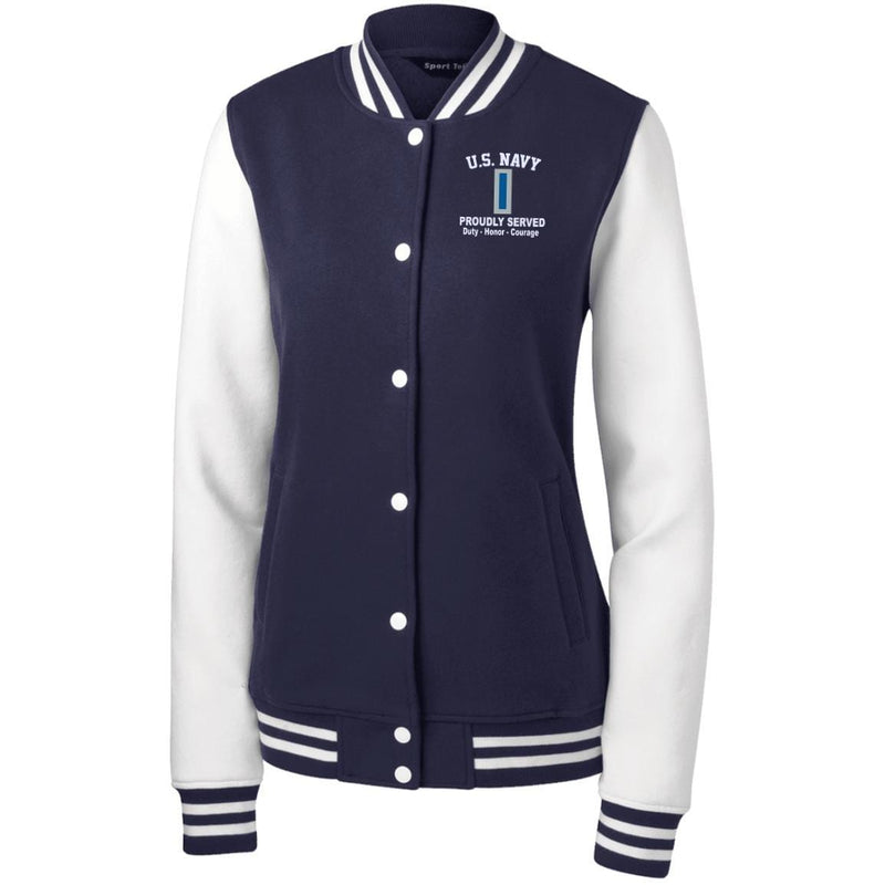 US Navy W-5 Chief Warrant Officer 5 W5 CW5 Warrant Officer Proudly Served Embroidered Sport-Tek Women's Fleece Letterman Jacket