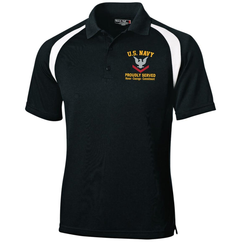 US Navy E-4 Petty Officer Third Class E4 PO3 Collar Device Embroidered Sport-Tek Moisture-Wicking Tag-Free Golf Shirt