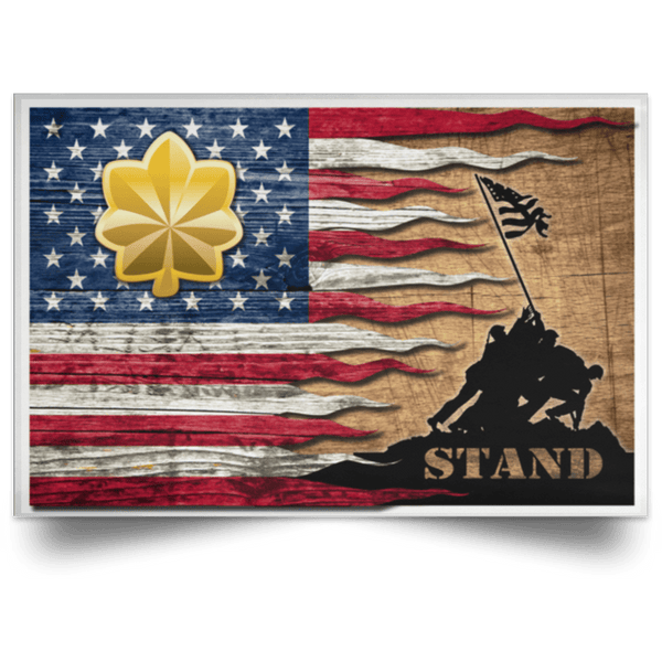 US Air Force O-4 Major Maj O4 Field Officer Ranks Stand For The Flag Satin Landscape Poster