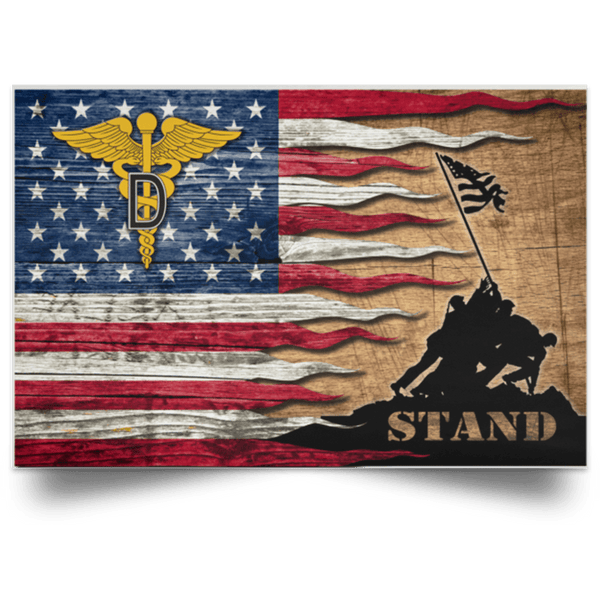 U.S. Army Dental Corps Stand For The Flag Satin Landscape Poster