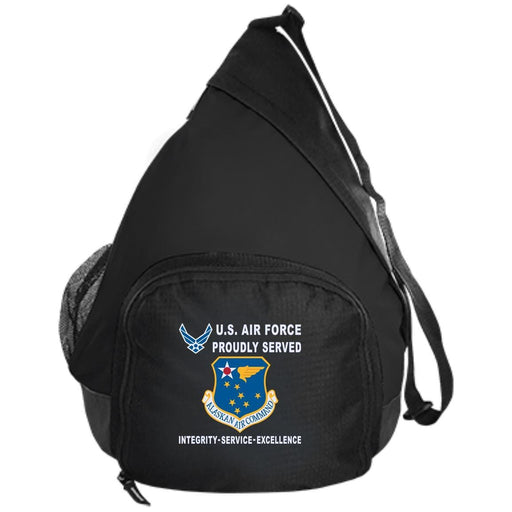 US Air Force Alaskan Air Command Proudly Served-D04 Embroidered Active Sling Pack
