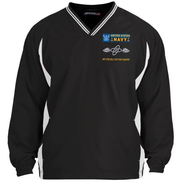 US Navy Aviation Electronics Technician AT- Not For Self, But For Country Sport-Tek Tipped V-Neck Windshirt