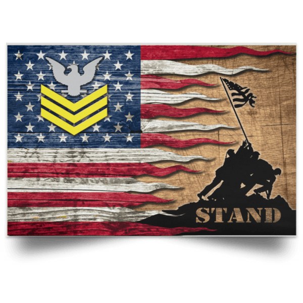 US Navy E-6 Petty Officer First Class E6 PO1 Gold Stripe Collar Device Stand For The Flag Satin Landscape Poster
