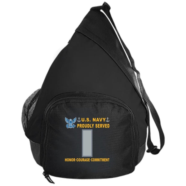 US Navy O-2 Lieutenant Junior Grade O2 LTJG Junior Officer Proudly Served-D04 Embroidered Active Sling Pack