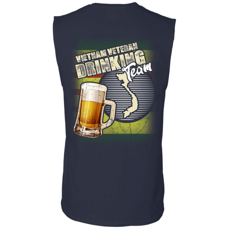 "Military T-Shirt ""Vietnam Veteran Drinking Bear Team Back"""