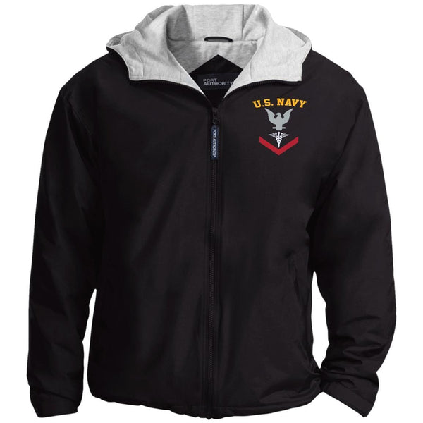 US Navy Hospital Corpsman HM E-4 Rating Badges Embroidered Port Authority® Hoodie Team Jacket
