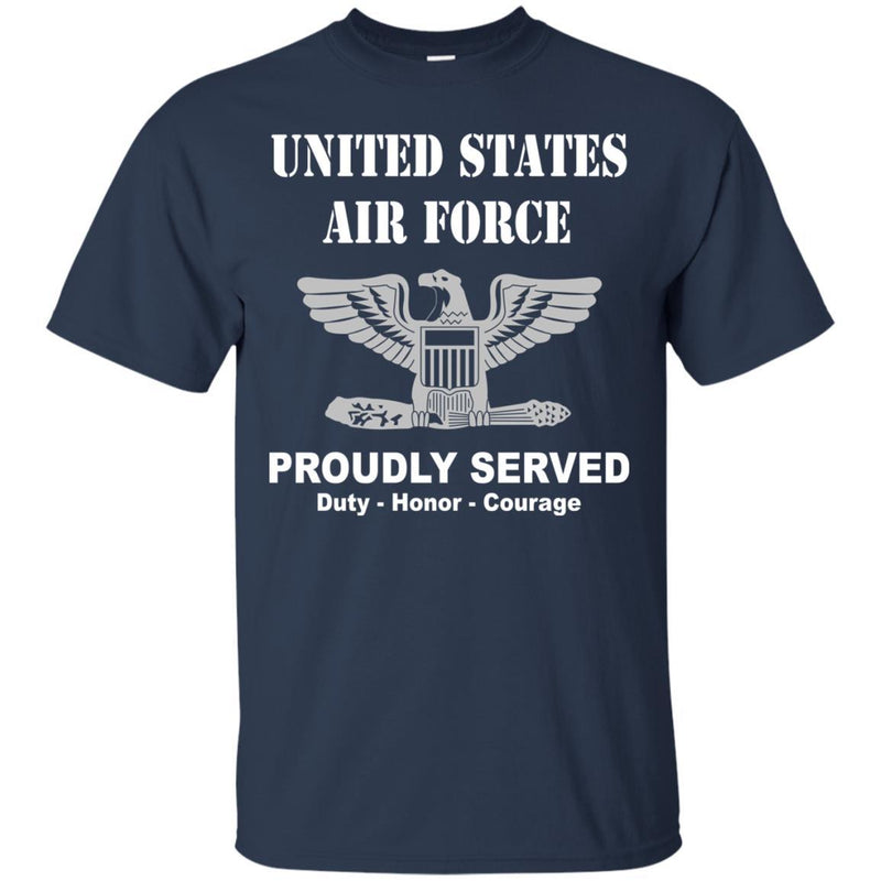 US Air Force O-6 Colonel Col O6 Field Officer Ranks Men Front T Shirt For Air Force