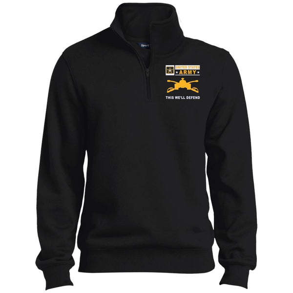 US Army Armor- This we'll defend Embroidered 1/4 Zip Pullover