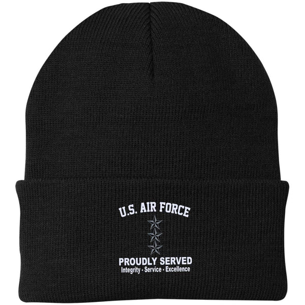 US Air Force O-9 Lieutenant General Lt Ge O9 General Officer Core Values Embroidered Port Authority Knit Cap