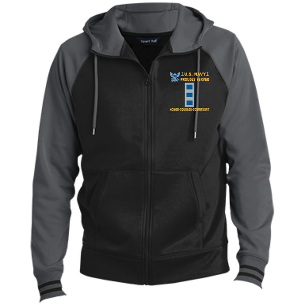 US Navy W-4 Chief Warrant Officer 4 W4 CW4 Warrant Officer Proudly Served-D04 Embroidered Sport-Tek® Full-Zip Hooded Jacket