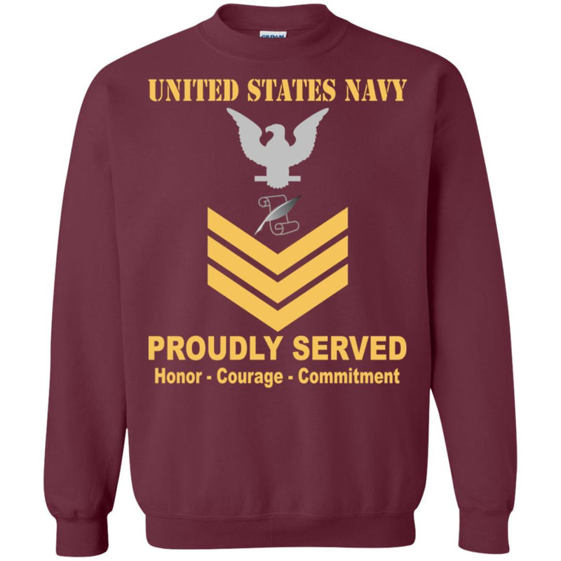 Navy Journalist Navy JO E-6 Rating Badges Proudly Served T-Shirt For Men On Front