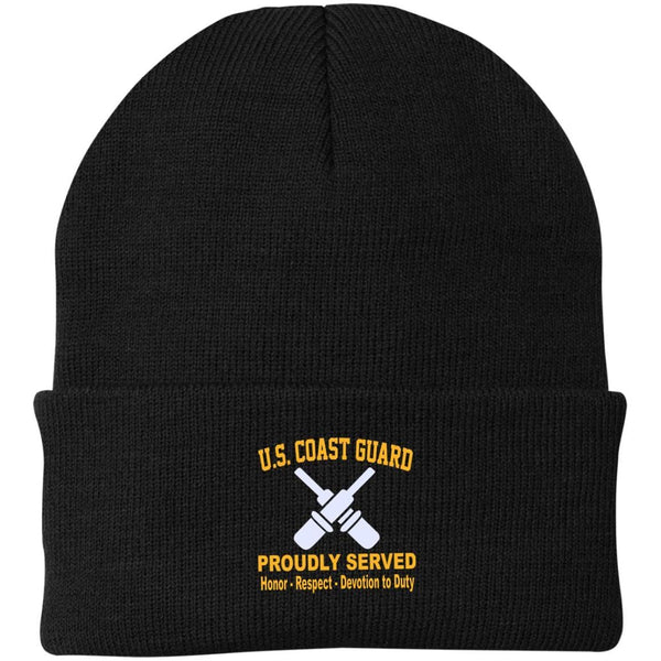 US Coast Guard Gunner's Mate GM Logo Embroidered Port Authority Knit Cap