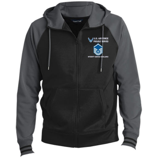 US Air Force E-7 Master Sergeant MSgt E7 Noncommissioned Officer Proudly Served-D04 Embroidered Sport-Tek® Full-Zip Hooded Jacket