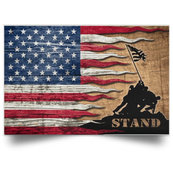Stand For The Flag Satin Landscape Poster