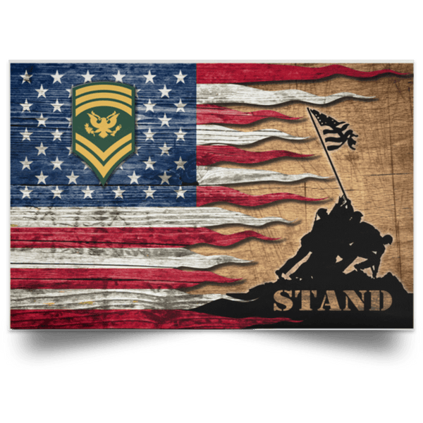 US Army E-9 SPC E9 SP9 Specialist 9 Stand For The Flag Satin Landscape Poster