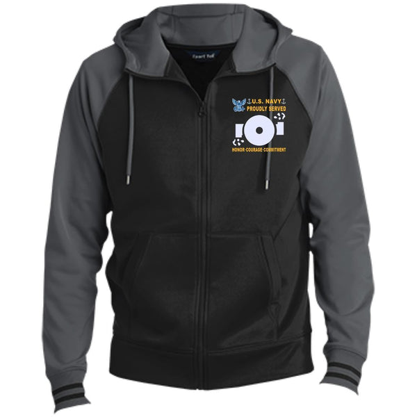 US Navy Boiler Technician BT - Proudly Served-D04 Embroidered Sport-Tek® Full-Zip Hooded Jacket