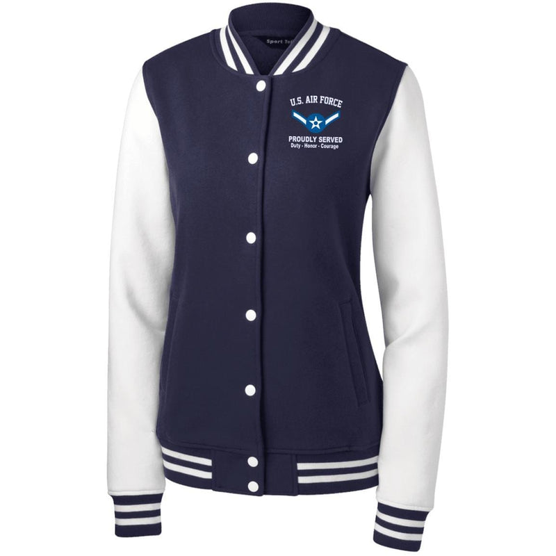 US Air Force E-2 Airman Amn E2 Enlisted Airman Proudly Served Embroidered Sport-Tek Women's Fleece Letterman Jacket