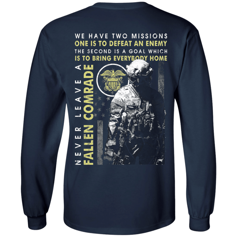 Never Leave A Fallen Comrade Navy Men Back T Shirts