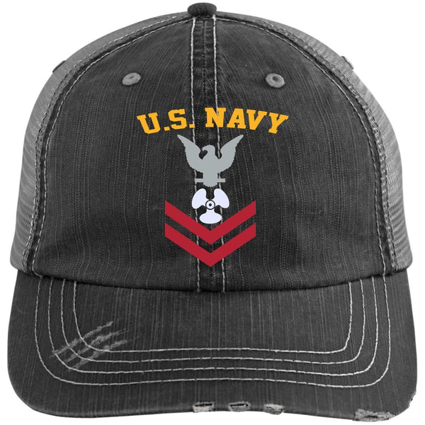 US Navy Machinist's Mate MM E-5 Rating Badges Embroidered Distressed Unstructured Trucker Cap